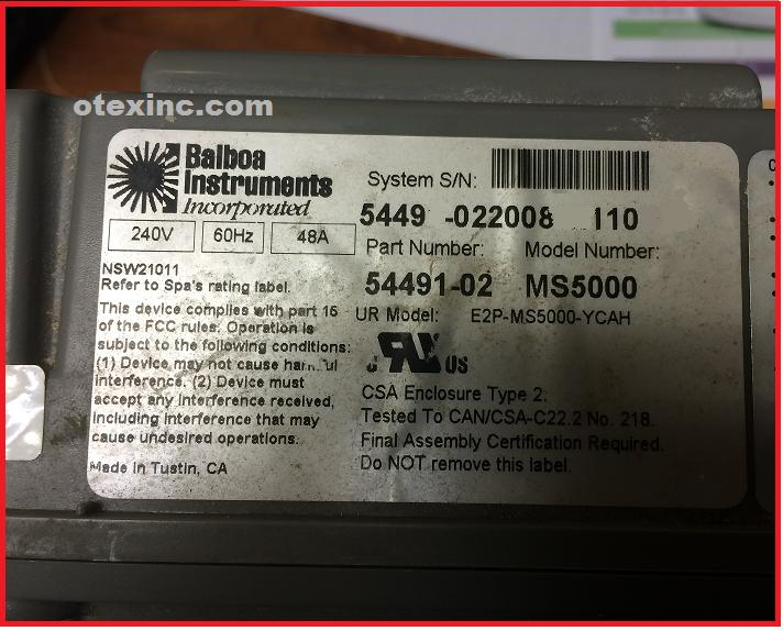 Balboa Equipment MS5000, X300025,X801021 System Control Repair